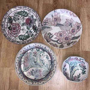 Vintage toyo Chinese porcelain 3 plates & bowl set